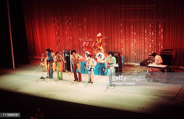 Michael Jackson performs on stage with the Jackson Five at the Royal Variety Performance in London November 1972 LR Tito Jackson Marlon Jackson...