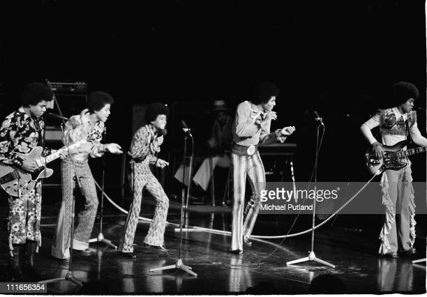 Michael Jackson performs on stage with the Jackson Five in London November 1972 LR Tito Jackson Marlon Jackson Michael Jackson Jackie Jackson...