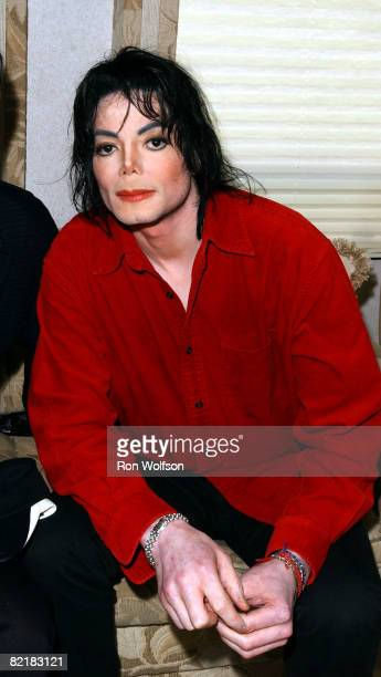Michael Jackson photographed in his dressing room at the 50th Anniversary 'American Bandstand' show taping on April 20 2002 in Pasadena California