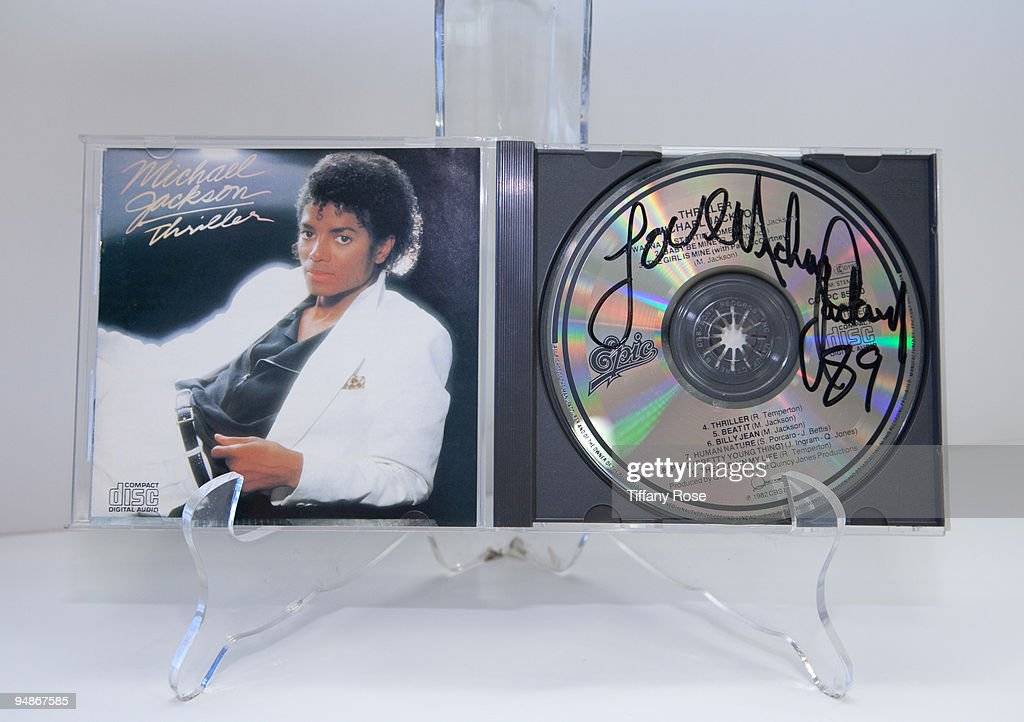 A Michael Jackson signed 'Thriller' compact disc (1984) at the Auction Preview At Bonhams & Butterfields on December 18, 2009 in Los Angeles, California.