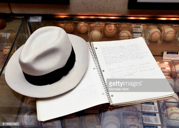 Michael Jackson stage worn and signed 'Smooth Criminal' White Fedora a Jackson family owned notebook filled with handwritten notes on family business...