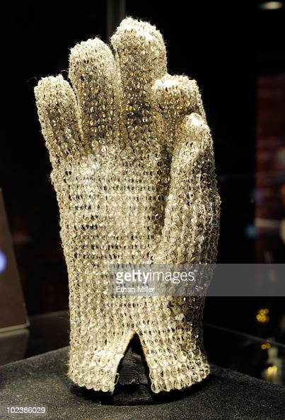 Michael Jackson Victory Tour glove covered in clear Swarovski crystals is displayed at Julien's Auctions annual summer sale at the Planet Hollywood...