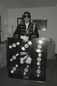 Michael Jackson whilst in London to accept a gold disc for the 'Thriller' album London 1983