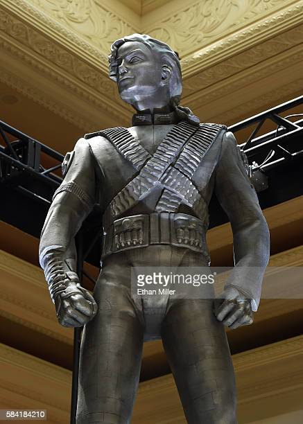 Michael Jackson's 10foottall HIStory statue is unveiled at the Mandalay Bay Resort and Casino on July 28 2016 in Las Vegas Nevada Jackson had the...