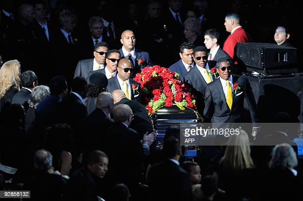 Michael Jackson's casket is brought out during public memorial service held at Staples Center on July 7 2009 in Los Angeles California Jackson the...
