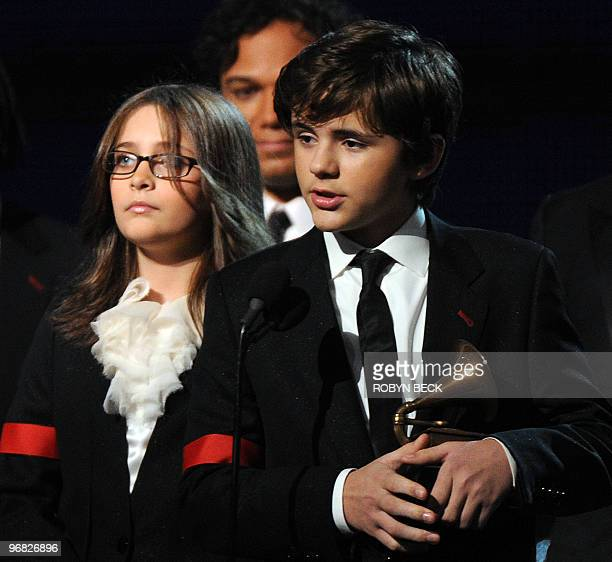 Michael Jackson's children Prince and Paris accept their father's Lifetime Achievement Award at the 52nd annual Grammy Awards in Los Angeles on...