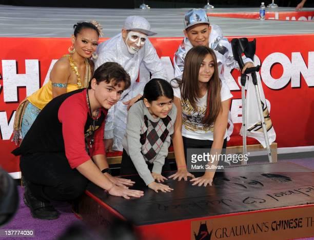 Michael Jackson's children Prince Jackson Blanket Jackson and Paris Jackson during the Michael Jackson Hand And Footprint Ceremony at Grauman's...