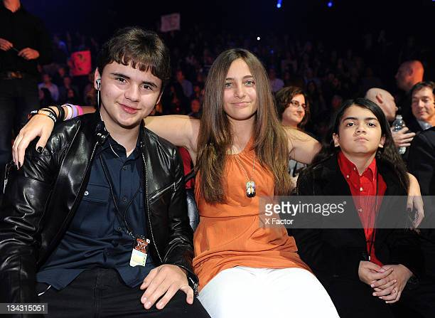 Michael Jackson's children Prince Jackson Paris Jackson and Blanket Jackson in the audience at FOX's 'The X Factor' Top 7 Live Performance Show on...