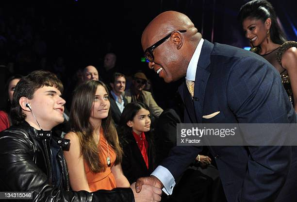 Michael Jackson's children Prince Jackson Paris Jackson Blanket Jackson and judge LA Reid in the audience at FOX's 'The X Factor' Top 7 Live...