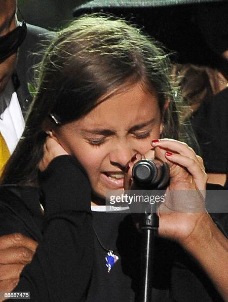 Michael Jackson's daughter Paris Michael Katherine Jackson becomes emotional as she speaks during the Michael Jackson public memorial service held at...