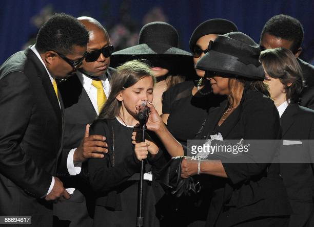 Michael Jackson's daughter Paris Michael Katherine Jackson is comforted by the brothers and sisters of Michael Jackson including Marlon and Randy...