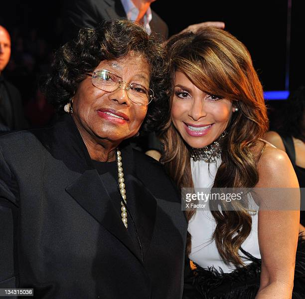 Michael Jackson's mother Katherine Jackson and judge Paula Abdul in the audience at FOX's 'The X Factor' Top 7 Live Performance Show on November 30...