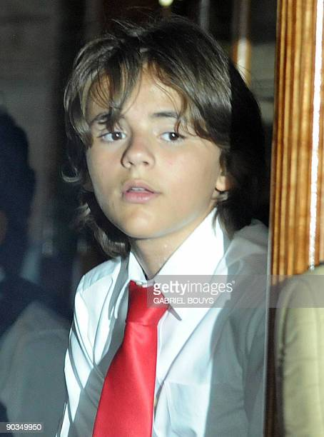 Michael Jackson's son Prince Michael leaves in a bus after Michael Jacksons burial ceremony in The Great Mausoleum at Glendale Forest Lawn Memorial...
