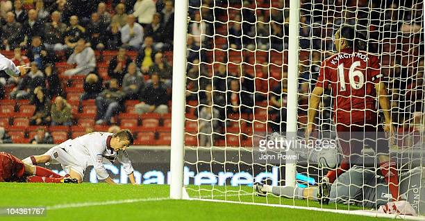 Michael Jacobs of Northampton Town scores the second goal for Northampton Town during the Carling Cup 3rd round game between Liverpool and...