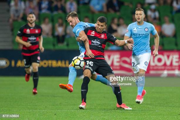 Michael Jakobsen of Melbourne City and Jaushua Sotirio of the Western Sydney Wanderers contest the ball during Round 6 of the Hyundai ALeague Series...