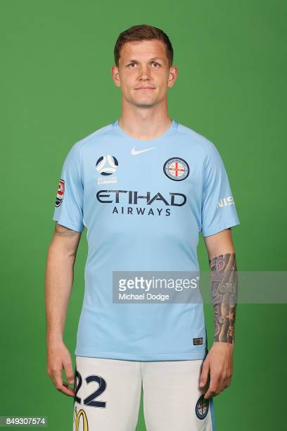 Michael Jakobsen poses during the Melbourne City 2017/18 ALeague season headshots session Fox Footy Studios on September 19 2017 in Melbourne...