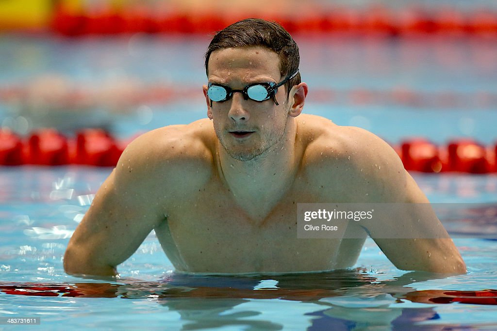 Michael Jamieson looks on after the Men's 200m Breaststroke heats on day one of the British Gas Swimming Championships 2014 at Tollcross International Swimming Centre on April 10, 2014 in Glasgow, Scotland.