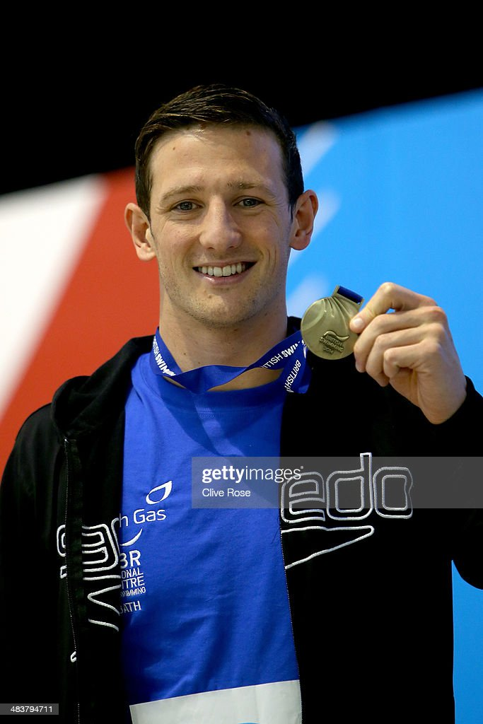 <a gi-track='captionPersonalityLinkClicked' href=/galleries/search?phrase=Michael+Jamieson+-+Swimmer&family=editorial&specificpeople=4878536 ng-click='$event.stopPropagation()'>Michael Jamieson</a> poses with his medal after winning the Men's 200m Breaststroke Final on day one of the British Gas Swimming Championships 2014 at Tollcross International Swimming Centre on April 10, 2014 in Glasgow, Scotland.