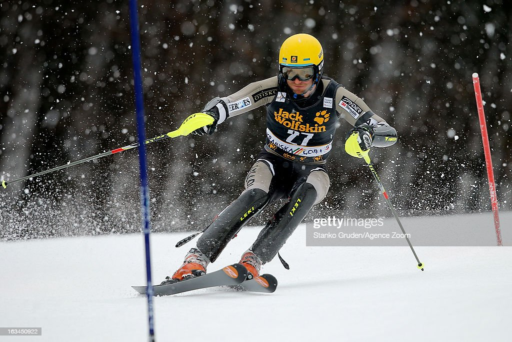 Michael Janyk of Canada competes during the Audi FIS Alpine Ski World Cup Men's Slalom on March 10, 2013 in Kranjska Gora, Slovenia.