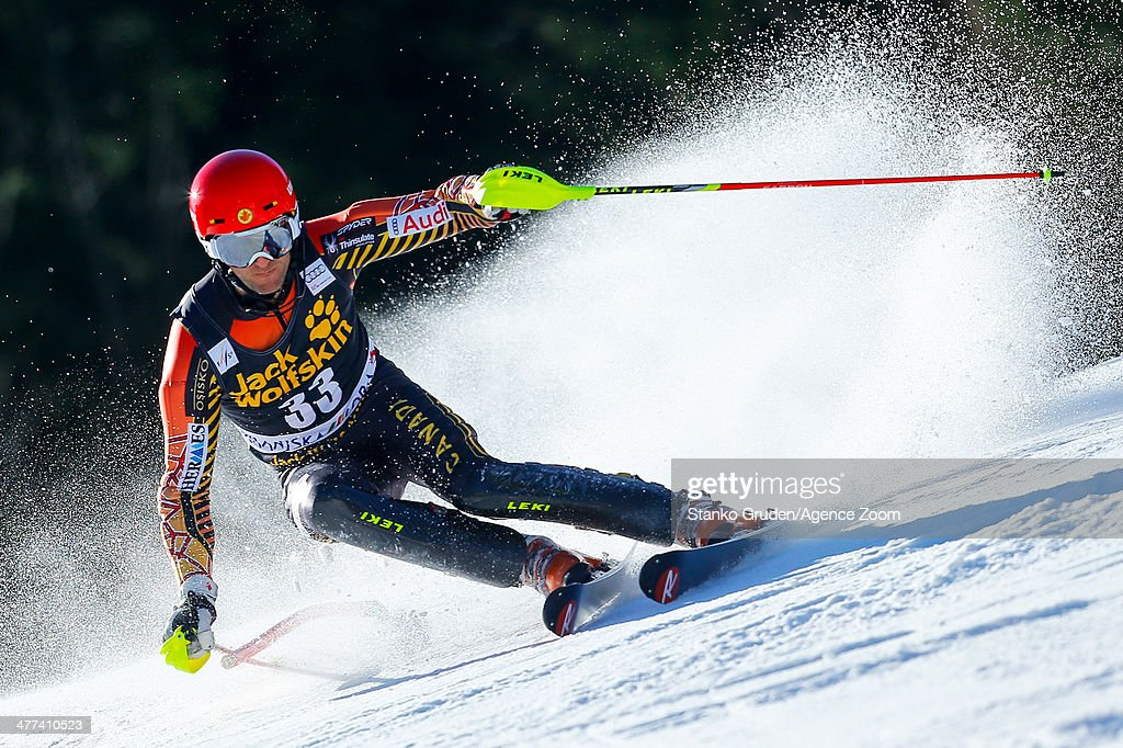 <a gi-track='captionPersonalityLinkClicked' href=/galleries/search?phrase=Michael+Janyk&family=editorial&specificpeople=835236 ng-click='$event.stopPropagation()'>Michael Janyk</a> of Canada competes during the Audi FIS Alpine Ski World Cup Men's Slalom on March 09, 2014 in Kranjska Gora, Slovenia.