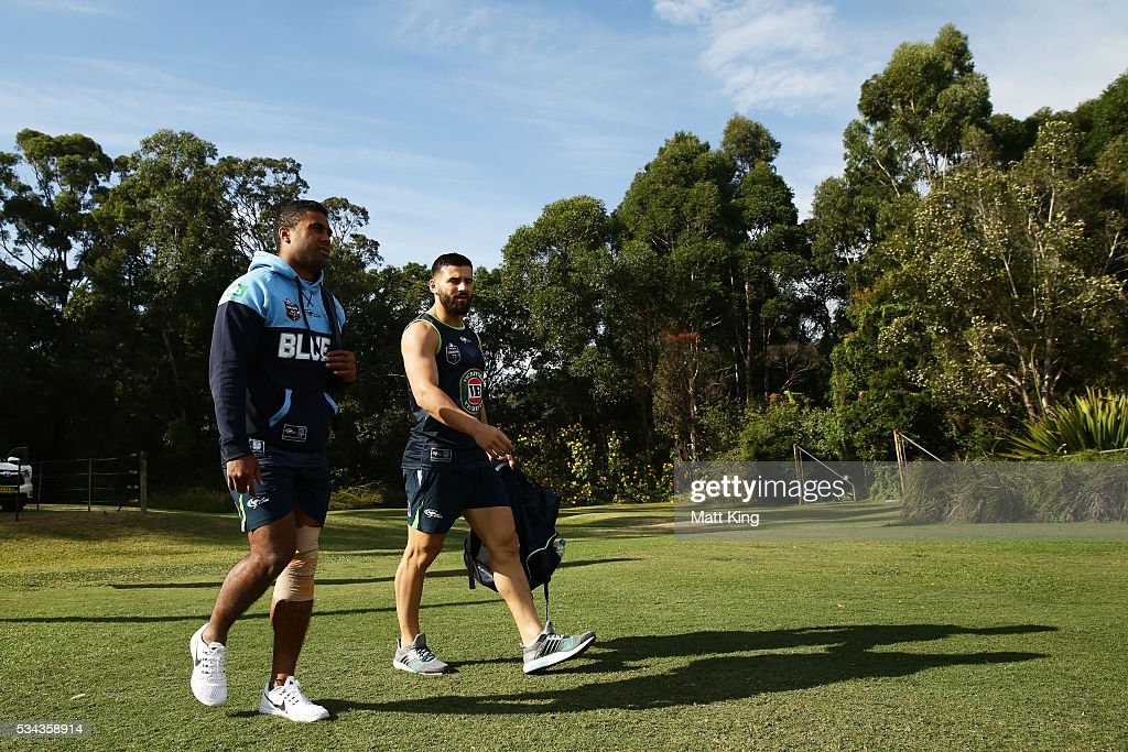 Michael Jennings of the Blues (L) and Josh Mansour of the Blues (R) arrive during a New South Wales State of Origin training session on May 26, 2016 in Coffs Harbour, Australia.