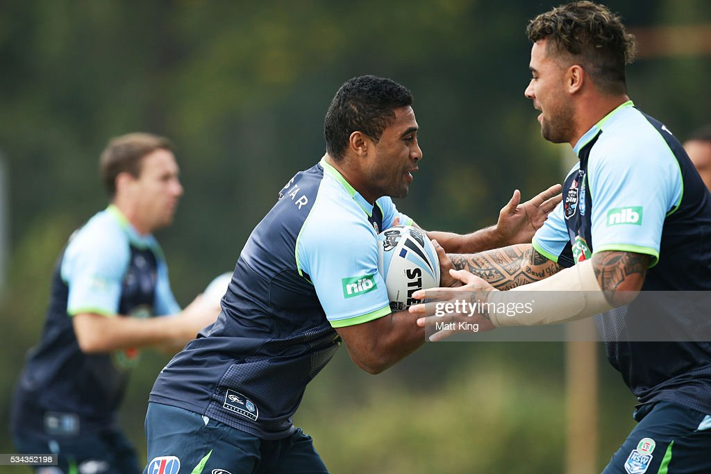 <a gi-track='captionPersonalityLinkClicked' href=/galleries/search?phrase=Michael+Jennings+-+Rugby+Player&family=editorial&specificpeople=8008987 ng-click='$event.stopPropagation()'>Michael Jennings</a> of the Blues runs with the ball during a New South Wales State of Origin media opportunity on May 26, 2016 in Coffs Harbour, Australia.