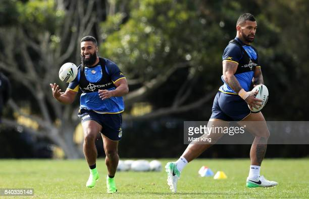 Michael Jennings of the Eels handles the ball during a Parramatta Eels NRL training session at Old Saleyards Reserve on August 29 2017 in Sydney...
