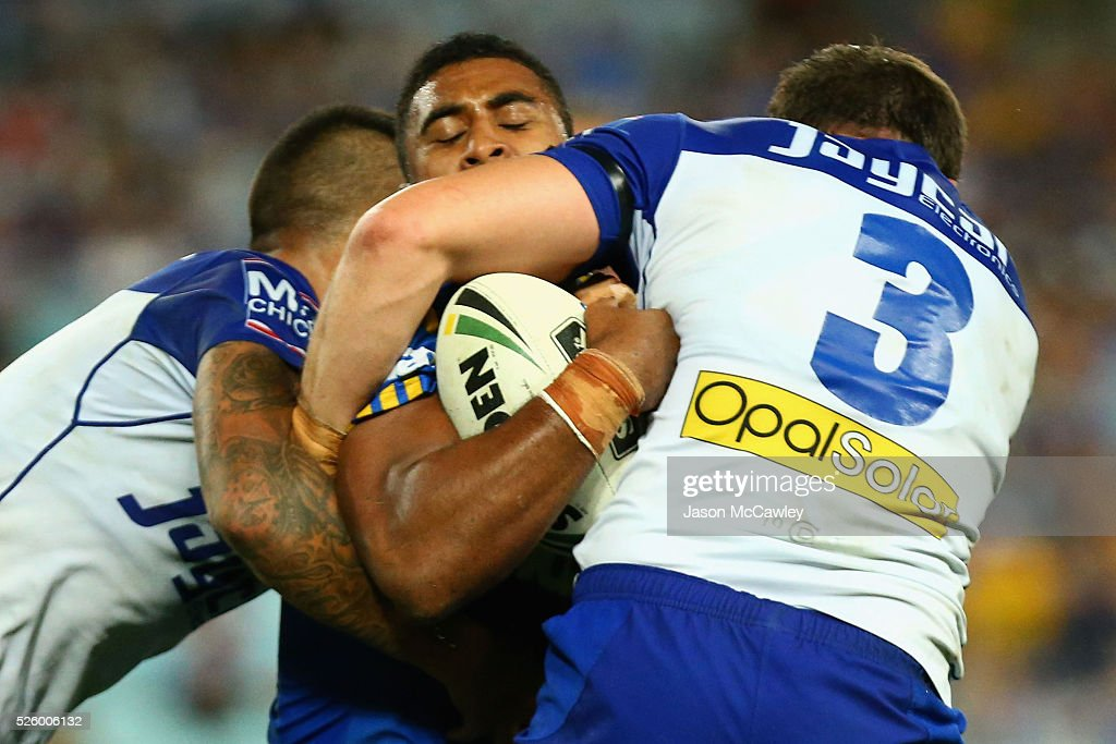 Michael Jennings of the Eels is tackled during the round nine NRL match between the Parramatta Eels and the Canterbury Bulldogs at ANZ Stadium on April 29, 2016 in Sydney, Australia.