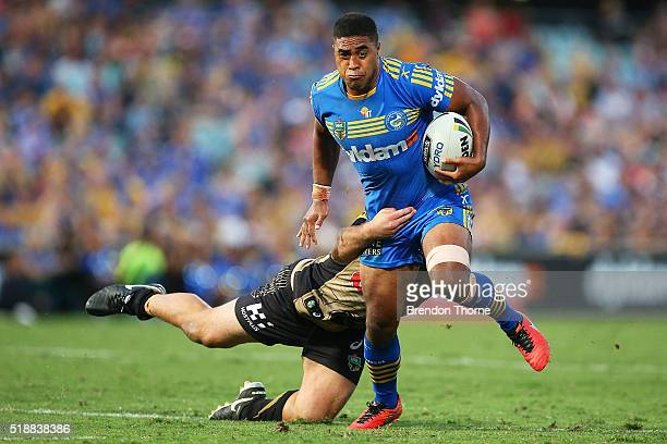 Michael Jennings of the Eels runs the ball during the round five NRL match between the Parramatta Eels and the Penrith Panthers at Pirtek Stadium on...