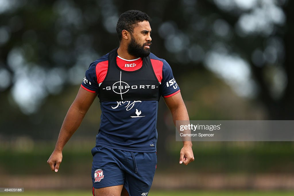 Michael Jennings of the Roosters looks on during a Sydney Roosters NRL training session at Kippax Lake on September 3, 2014 in Sydney, Australia.