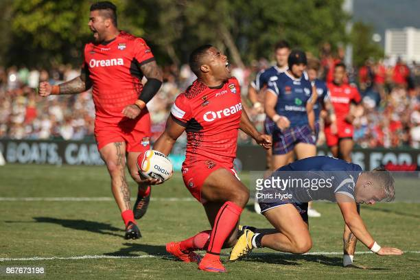 Michael Jennings of Tonga celebrates a try during the 2017 Rugby League World Cup match between Scotland and Tonga at Barlow Park on October 29 2017...