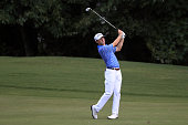 Michael Johnson hits off the fifteenth hole during the final round of the Barbasol Championship at the Robert Trent Jones Golf Trail at Grand...
