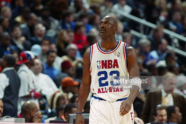 Michael Jordan of the Eastern Conference AllStars looks on at the 2003 NBA AllStar Game on February 9 2003 at Philips Arena in Atlanta Georgia NOTE...