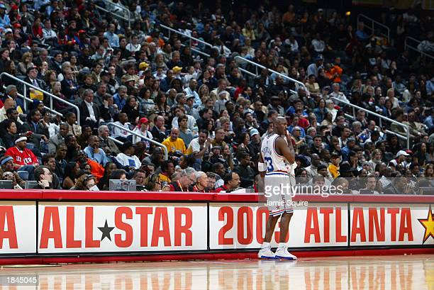 Michael Jordan of the Western Conference AllStars on the sideline at the 2003 NBA AllStar Game on February 9 2003 at Philips Arena in Atlanta Georgia...