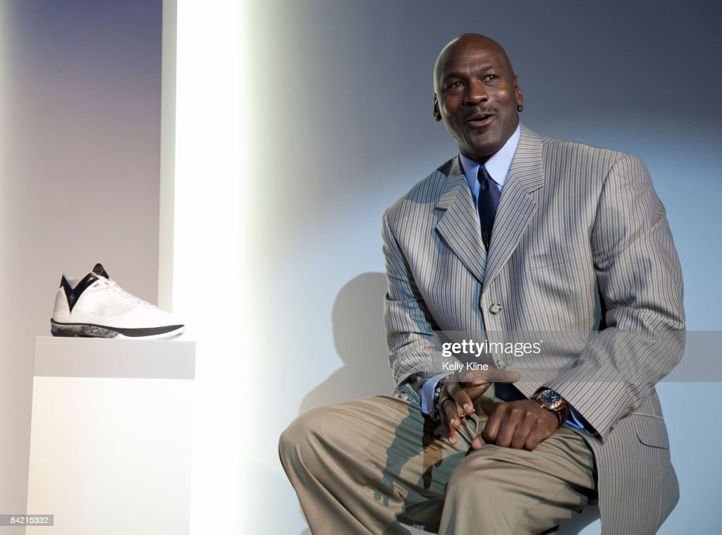 Michael Jordan addresses the media during the launch of the Air Jordan 2009 at The Event Space on January 8, 2009 in New York City.