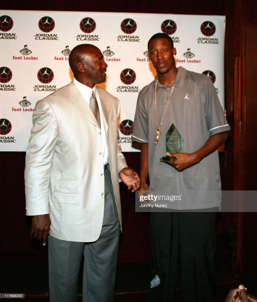 <a gi-track='captionPersonalityLinkClicked' href=/galleries/search?phrase=Michael+Jordan+-+Basketball+Player&family=editorial&specificpeople=73625 ng-click='$event.stopPropagation()'>Michael Jordan</a> and <a gi-track='captionPersonalityLinkClicked' href=/galleries/search?phrase=Andray+Blatche&family=editorial&specificpeople=4282797 ng-click='$event.stopPropagation()'>Andray Blatche</a> during <a gi-track='captionPersonalityLinkClicked' href=/galleries/search?phrase=Michael+Jordan+-+Basketball+Player&family=editorial&specificpeople=73625 ng-click='$event.stopPropagation()'>Michael Jordan</a> Hosts 2005 Jordan Classic Dinner - April 14, 2005 in New York, New York, United States.