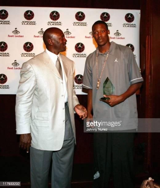 Michael Jordan and Andray Blatche during Michael Jordan Hosts 2005 Jordan Classic Dinner April 14 2005 in New York New York United States