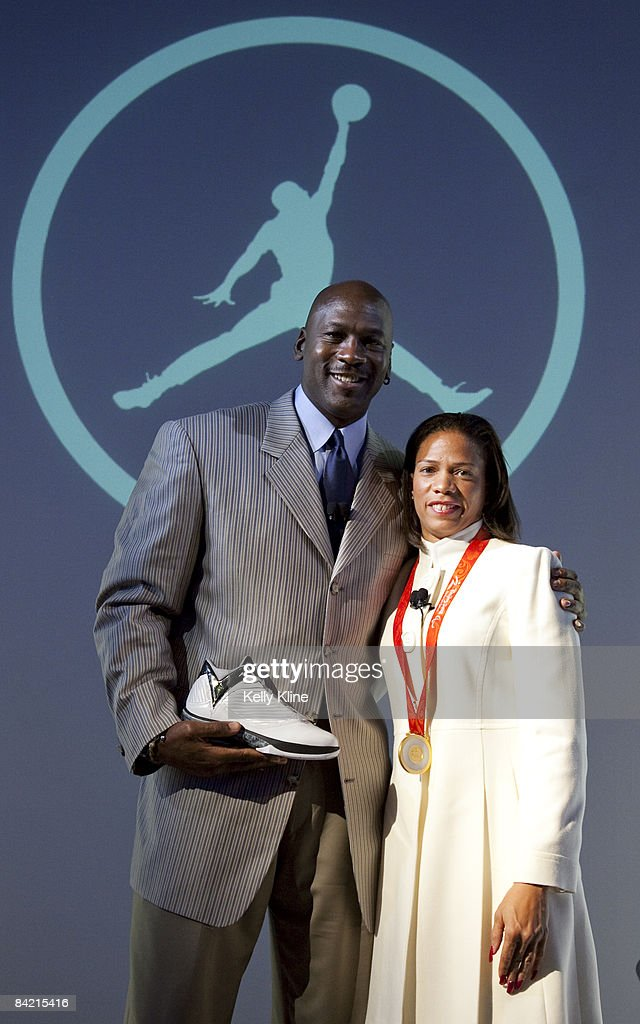 Michael Jordan (L) and Team Jordan athlete April Holmes reveal the Air Jordan 2009 to the world at press event at The Event Space on January 8, 2009 in New York City.