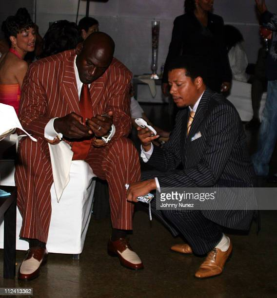 Michael Jordan and Terrence Howard during 2005 BET Awards After Party at The Highlands in Hollywood California United States