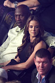 Michael Jordan and wife Yvette Prieto watches the Leo Santa Cruz against Jose Cayetano featherweight bout on May 2 2015 at MGM Grand Garden Arena in...