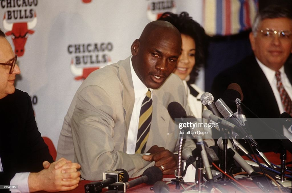Michael Jordan answers questions at the press conference announcing his retirement from the NBA. Mandatory Credit: Jonathan Daniel/ALLSPORT