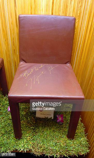 Michael Jordan chair at auction of chairs signed by celebrities to benefit Miami Children's Hospital at Nobu at the Shore Club on April 9 2006 in...