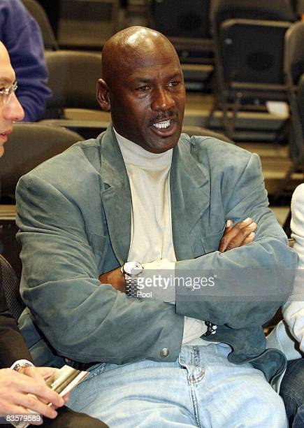 Michael Jordan Coowner of the Charlotte Bobcats sits courtside at the New York Knicks game against the Bobcats November 5 2008 at Madison Square...