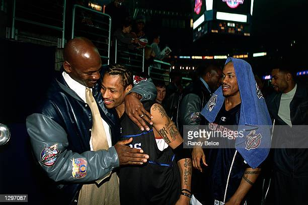 Michael Jordan hugs Allen Iverson of the Philadelphia 76ers after the 2001 NBA AllStar game at the MCI Center in Washington DC NOTE TO USER User...