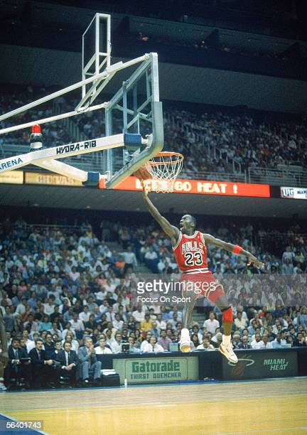 Michael Jordan jumps and dunks circa the 1990's during a game