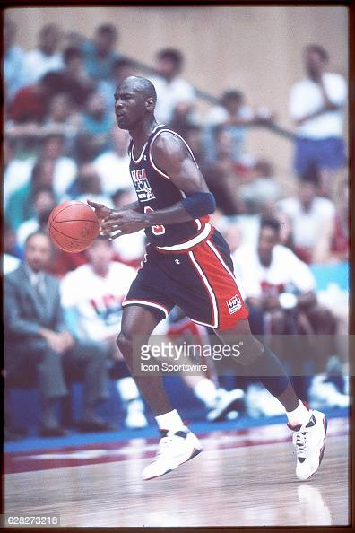 Michael Jordan of Team USA the Dream Team dribbles the ball during the men's basketball competition at the 1992 Summer Olympics in Barcelona Spain