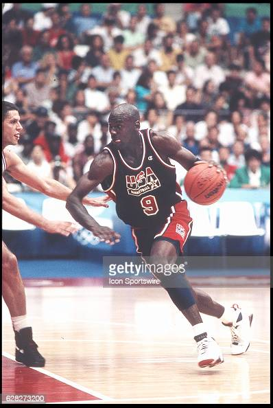 Michael Jordan of Team USA the Dream Team drives to the basket during the men's basketball competition at the 1992 Summer Olympics in Barcelona Spain