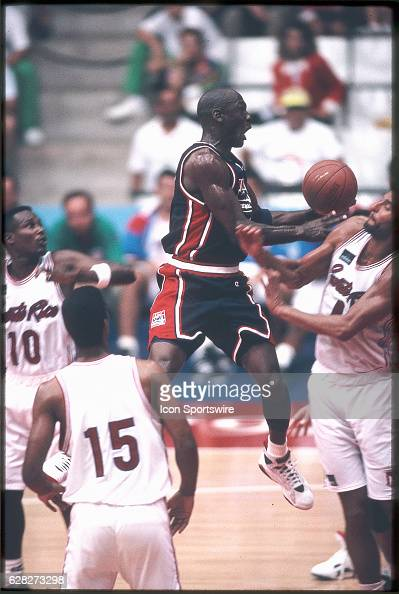 Michael Jordan of Team USA the Dream Team passes the ball during the men's basketball competition at the 1992 Summer Olympics in Barcelona Spain