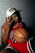 Michael Jordan of the Chicago Bulls celebrates winning the NBA Championship after Game Six of the 1993 NBA Finals on June 20 1993 at th America West...