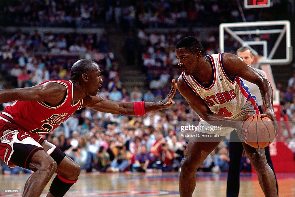 Michael Jordan of the Chicago Bulls defends against Joe Dumars of the Detroit Pistons during an NBA game in Detroit Michigan NOTE TO USER User...
